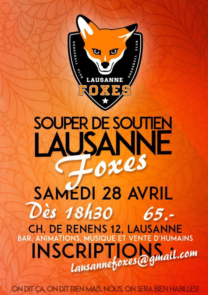 Affiche Souper de Soutien Lausanne Foxes 2018